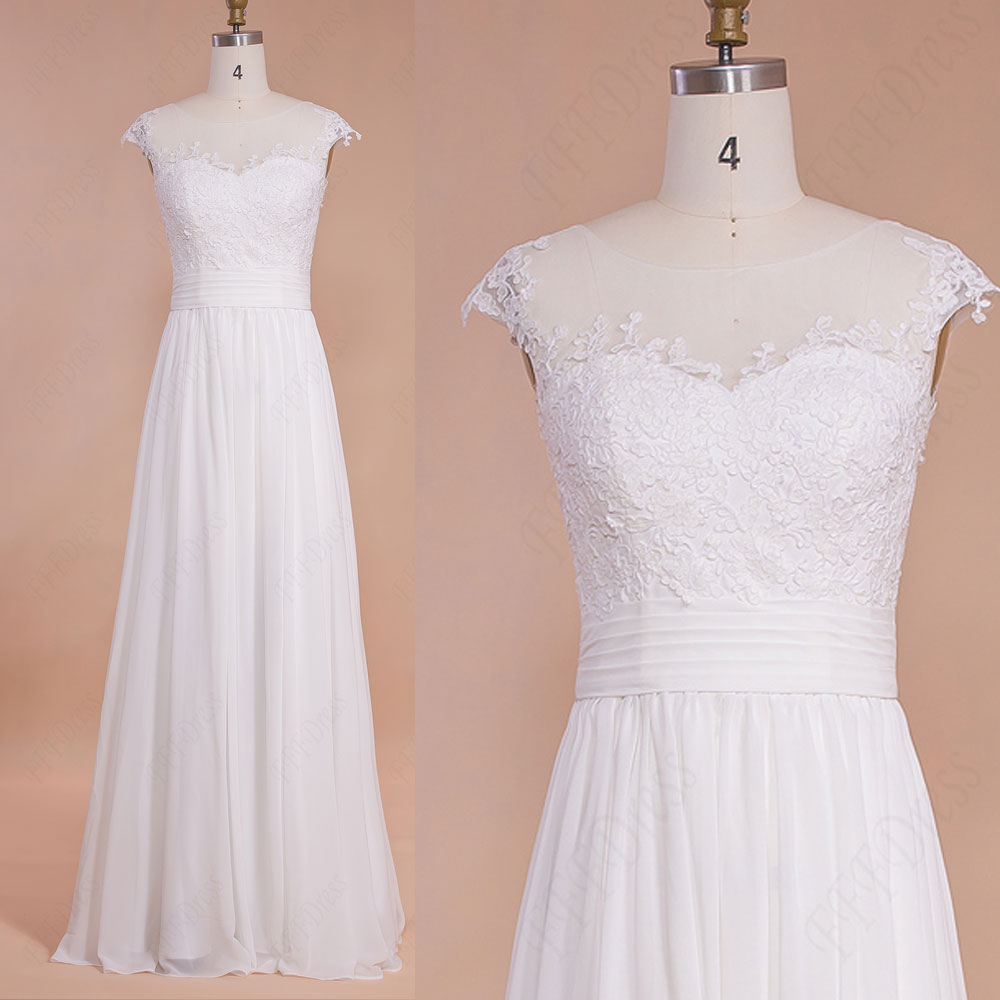 Lace Chiffon Beach Wedding Dresses With Cap Sleeves
