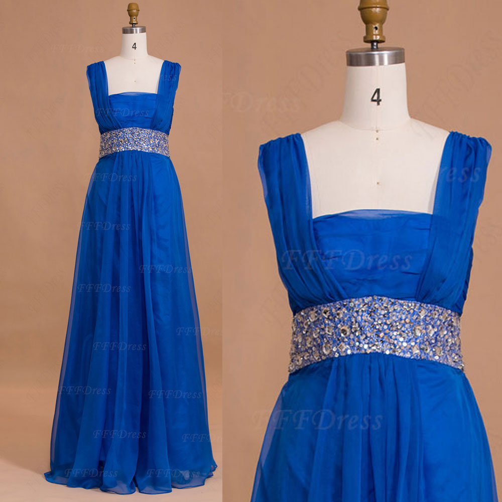 Royal blue long prom dresses square neckline bridesmaid for Blue wedding dresses plus size