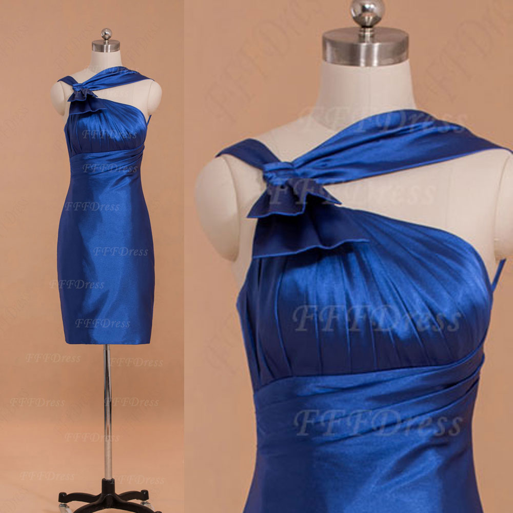 Straps royal blue short bridesmaid dresses on luulla for Royal blue short wedding dresses